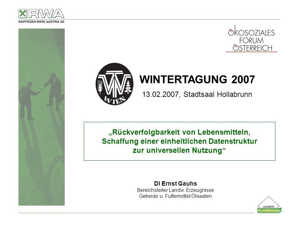 LANDWIRTSCHAFTLICHE ERZEUGNISSE WINTERTAGUNG 2007 13.02.2007, Stadtsaal Hollabrunn Rückverfolgbarkeit von Lebensmitteln, Schaffung einer einheitlichen