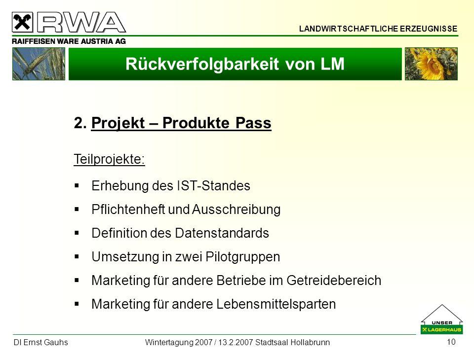 LANDWIRTSCHAFTLICHE ERZEUGNISSE DI Ernst Gauhs Wintertagung 2007 / 13.2.2007 Stadtsaal Hollabrunn 10 Rückverfolgbarkeit von LM 2. Projekt – Produkte P