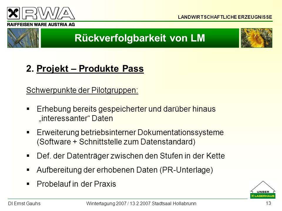 LANDWIRTSCHAFTLICHE ERZEUGNISSE DI Ernst Gauhs Wintertagung 2007 / 13.2.2007 Stadtsaal Hollabrunn 13 Rückverfolgbarkeit von LM 2. Projekt – Produkte P