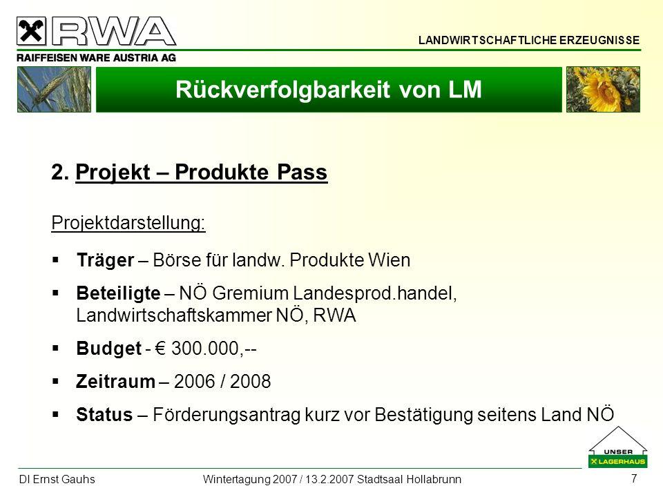 LANDWIRTSCHAFTLICHE ERZEUGNISSE DI Ernst Gauhs Wintertagung 2007 / 13.2.2007 Stadtsaal Hollabrunn 7 Rückverfolgbarkeit von LM 2. Projekt – Produkte Pa