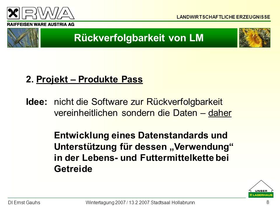 LANDWIRTSCHAFTLICHE ERZEUGNISSE DI Ernst Gauhs Wintertagung 2007 / 13.2.2007 Stadtsaal Hollabrunn 9 Rückverfolgbarkeit von LM 2.