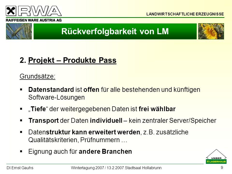 LANDWIRTSCHAFTLICHE ERZEUGNISSE DI Ernst Gauhs Wintertagung 2007 / 13.2.2007 Stadtsaal Hollabrunn 9 Rückverfolgbarkeit von LM 2. Projekt – Produkte Pa