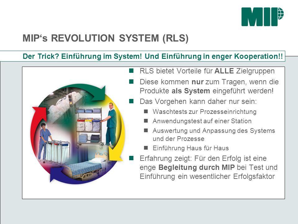 MIPs REVOLUTION SYSTEM (RLS) Der Trick? Einführung im System! Und Einführung in enger Kooperation!! RLS bietet Vorteile für ALLE Zielgruppen Diese kom