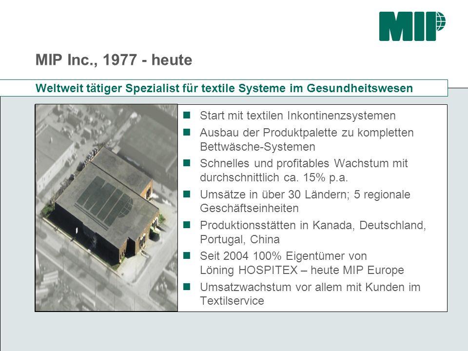MIP Inc., 1977 - heute Start mit textilen Inkontinenzsystemen Ausbau der Produktpalette zu kompletten Bettwäsche-Systemen Schnelles und profitables Wa