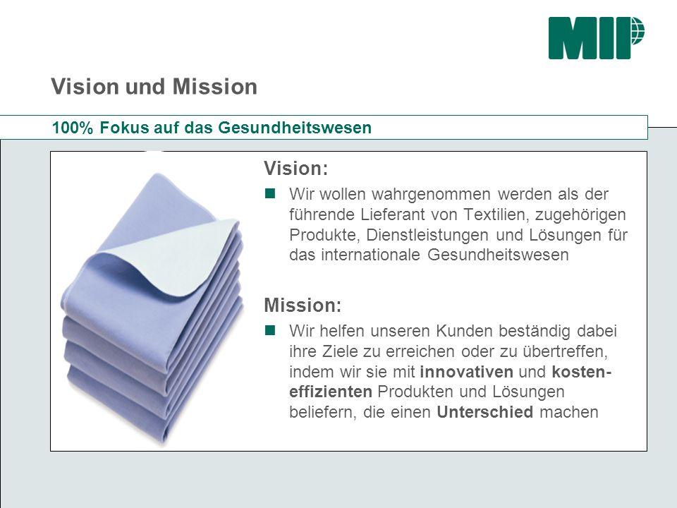 Vision und Mission Vision: Wir wollen wahrgenommen werden als der führende Lieferant von Textilien, zugehörigen Produkte, Dienstleistungen und Lösunge