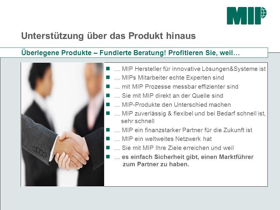 Unterstützung über das Produkt hinaus … MIP Hersteller für innovative Lösungen&Systeme ist … MIPs Mitarbeiter echte Experten sind … mit MIP Prozesse m
