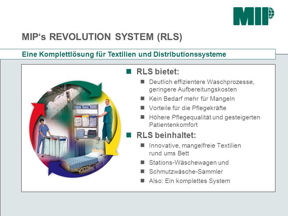 MIPs REVOLUTION SYSTEM (RLS) Erfolgreich im Einsatz in vielen Ländern Zahlreiche Komplett-Installationen in Kanada, mit Einsparungen von über 30% Komplett-Umstellungen von Wäschereien in Italien mit erfolgreichen Wachstums- Erfolgen Unter dem Namen SleepKnit System ein großer Erfolg im öffentlichen Gesund- heitswesen in Großbritannien Einzelne Produkte auch in anderen Ländern bereits im Einsatz Anpassung für Zentraleuropa ist nun marktreif!