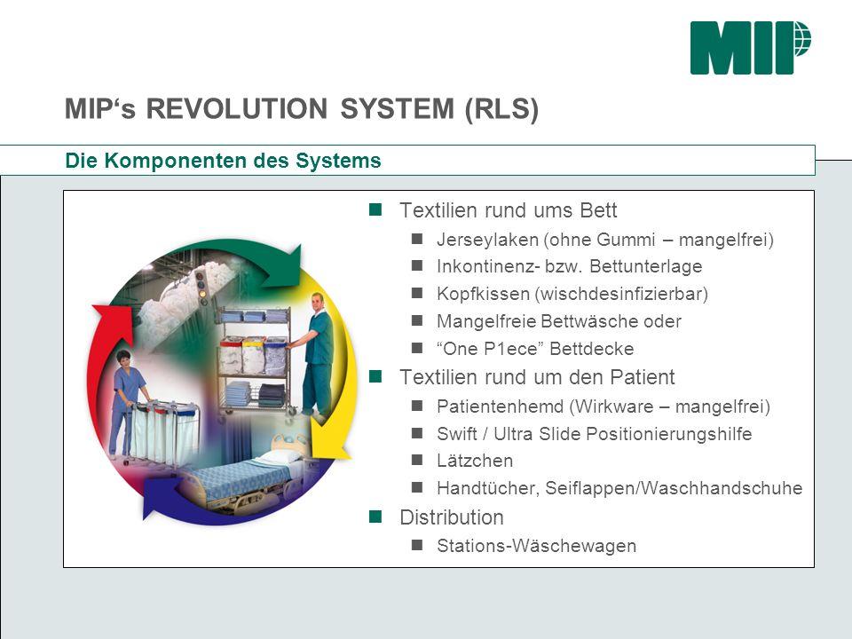 MIPs REVOLUTION SYSTEM (RLS) Die Komponenten des Systems Textilien rund ums Bett Jerseylaken (ohne Gummi – mangelfrei) Inkontinenz- bzw. Bettunterlage