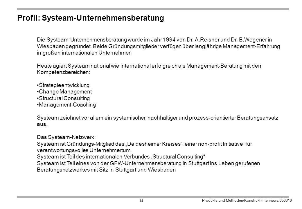 Produkte und Methoden/Konstrukt-Interviews/050310 14 Profil: Systeam-Unternehmensberatung Die Systeam-Unternehmensberatung wurde im Jahr 1994 von Dr.