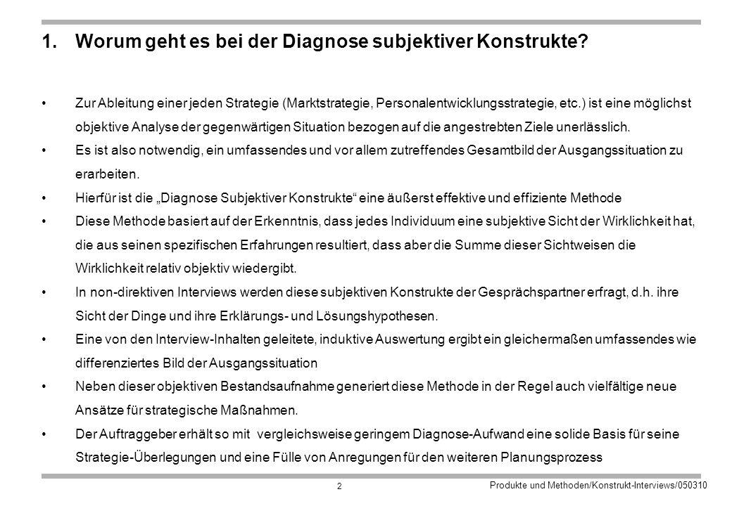 Produkte und Methoden/Konstrukt-Interviews/050310 2 1.Worum geht es bei der Diagnose subjektiver Konstrukte.