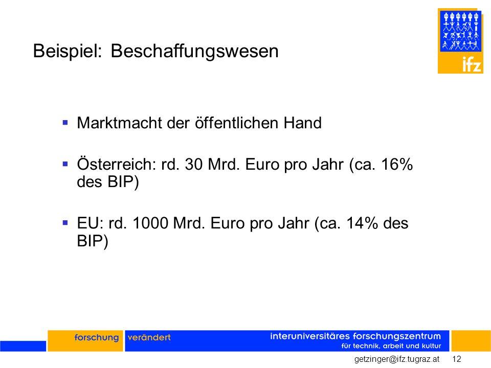 12getzinger@ifz.tugraz.at Beispiel: Beschaffungswesen Marktmacht der öffentlichen Hand Österreich: rd. 30 Mrd. Euro pro Jahr (ca. 16% des BIP) EU: rd.