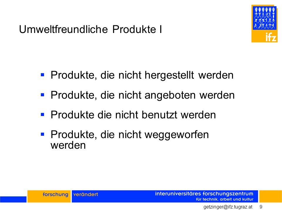 9getzinger@ifz.tugraz.at Umweltfreundliche Produkte I Produkte, die nicht hergestellt werden Produkte, die nicht angeboten werden Produkte die nicht b