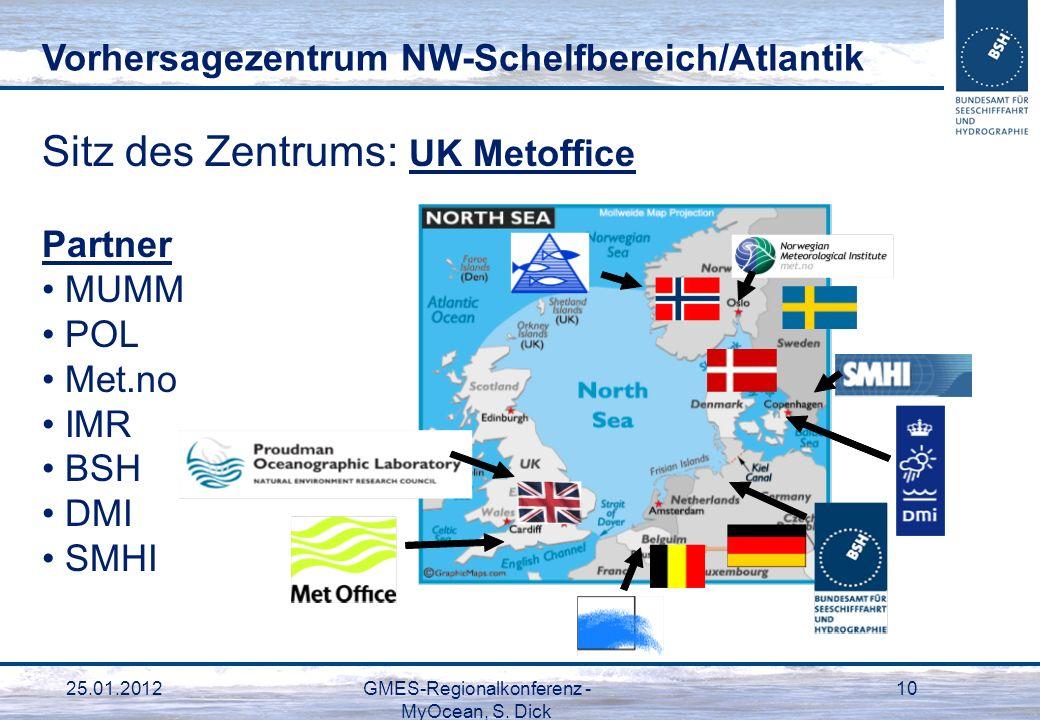 25.01.2012GMES-Regionalkonferenz - MyOcean, S. Dick 10 Sitz des Zentrums: UK Metoffice Partner MUMM POL Met.no IMR BSH DMI SMHI Vorhersagezentrum NW-S