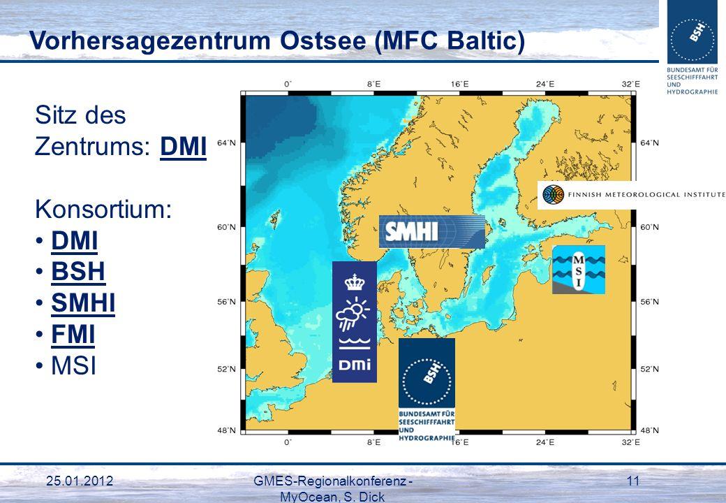 25.01.2012GMES-Regionalkonferenz - MyOcean, S. Dick 11 Vorhersagezentrum Ostsee (MFC Baltic) Sitz des Zentrums: DMI Konsortium: DMI BSH SMHI FMI MSI