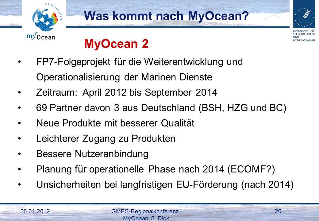 25.01.2012GMES-Regionalkonferenz - MyOcean, S. Dick 20 FP7-Folgeprojekt für die Weiterentwicklung und Operationalisierung der Marinen Dienste Zeitraum
