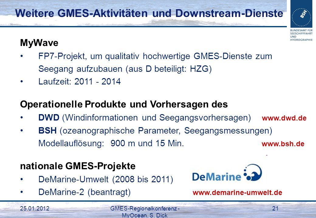25.01.2012GMES-Regionalkonferenz - MyOcean, S. Dick 21 MyWave FP7-Projekt, um qualitativ hochwertige GMES-Dienste zum Seegang aufzubauen (aus D beteil