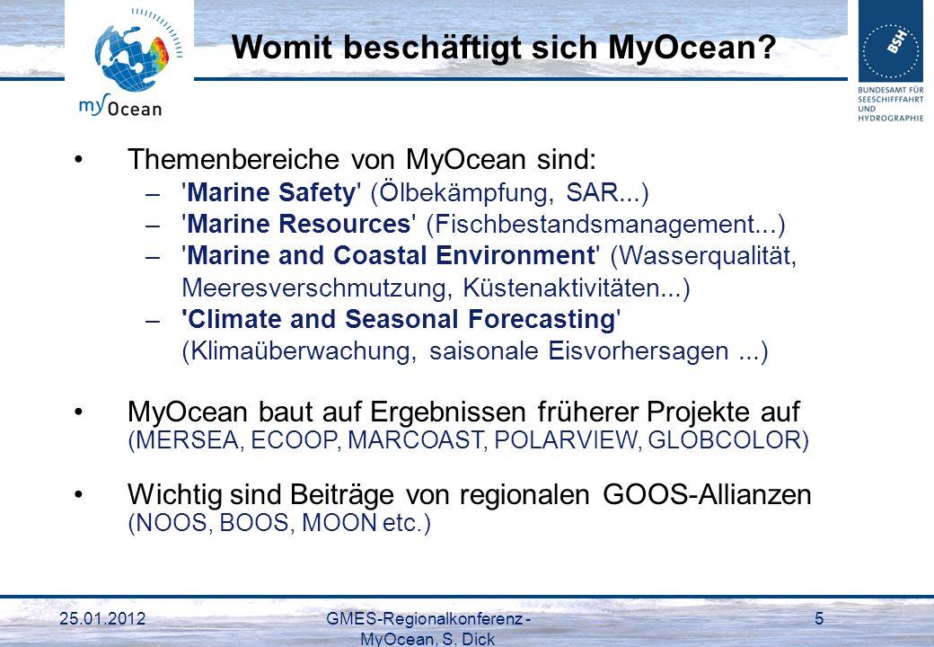 25.01.2012GMES-Regionalkonferenz - MyOcean, S. Dick 5 Themenbereiche von MyOcean sind: –'Marine Safety' (Ölbekämpfung, SAR...) –'Marine Resources' (Fi