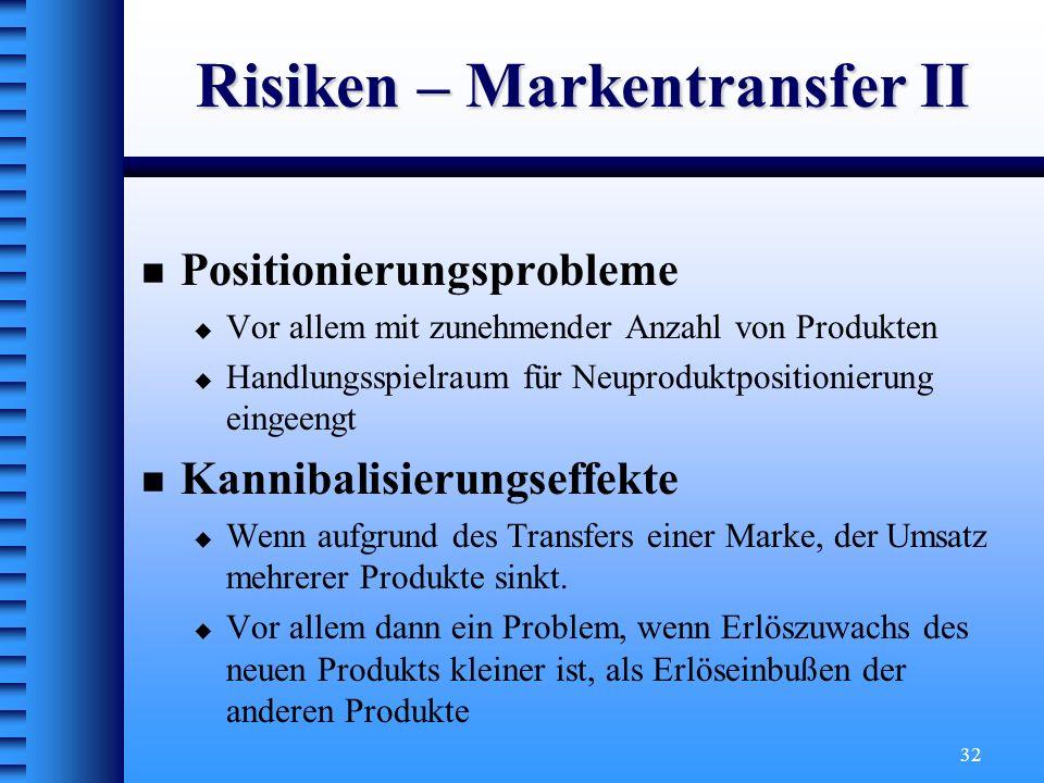 32 Risiken – Markentransfer II Positionierungsprobleme Vor allem mit zunehmender Anzahl von Produkten Handlungsspielraum für Neuproduktpositionierung