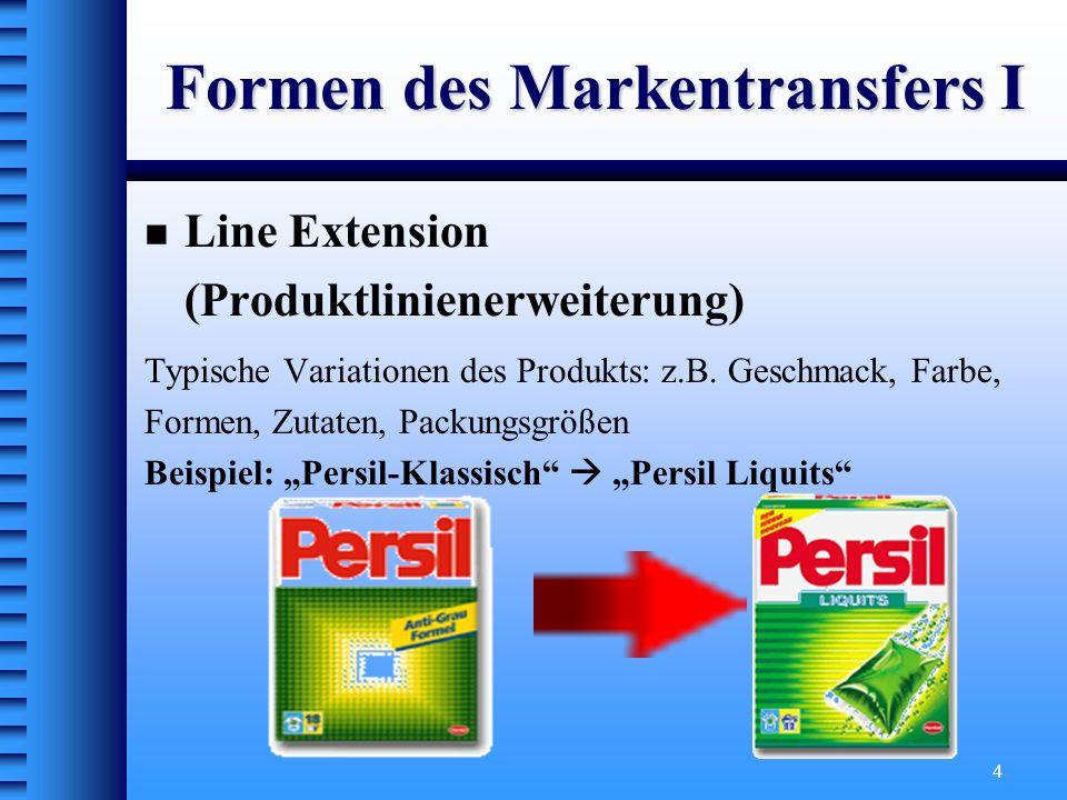 4 Formen des Markentransfers I Line Extension (Produktlinienerweiterung) Typische Variationen des Produkts: z.B. Geschmack, Farbe, Formen, Zutaten, Pa
