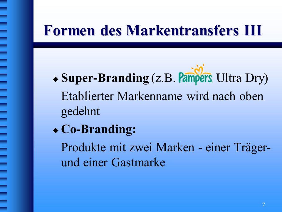 18 Das Markenimage = ein wertender verhaltenssteuernder Eindruck der Konsumenten = verantwortlich dafür, welche Assoziationen mit dem Produkt in Verbindung gebracht werden Wichtige Merkmale: Grad der Imagekonsistenz Abstraktionsgrad Produktgebundenheit