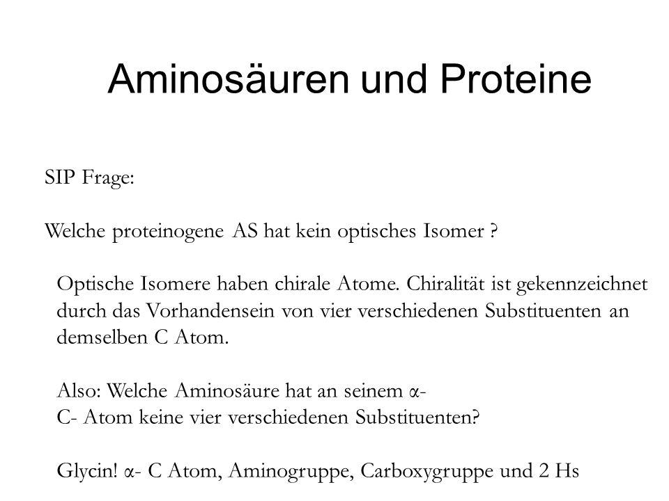 Aminosäuren und Proteine SIP Frage: Welche proteinogene AS hat kein optisches Isomer ? Optische Isomere haben chirale Atome. Chiralität ist gekennzeic