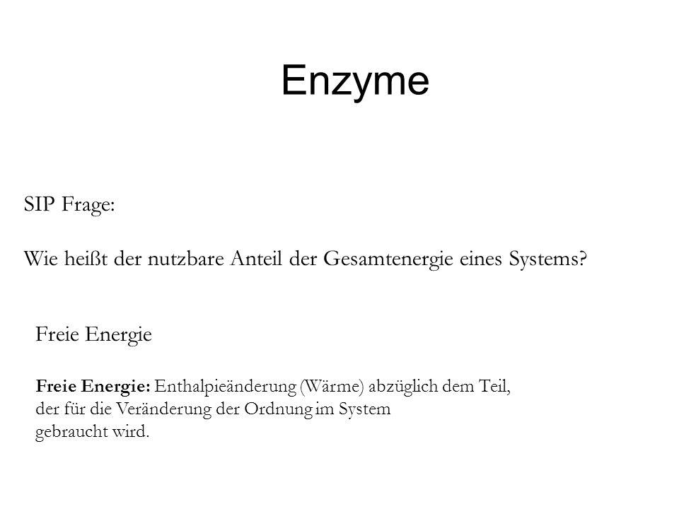 Enzyme SIP Frage: Wie heißt der nutzbare Anteil der Gesamtenergie eines Systems? Freie Energie Freie Energie: Enthalpieänderung (Wärme) abzüglich dem