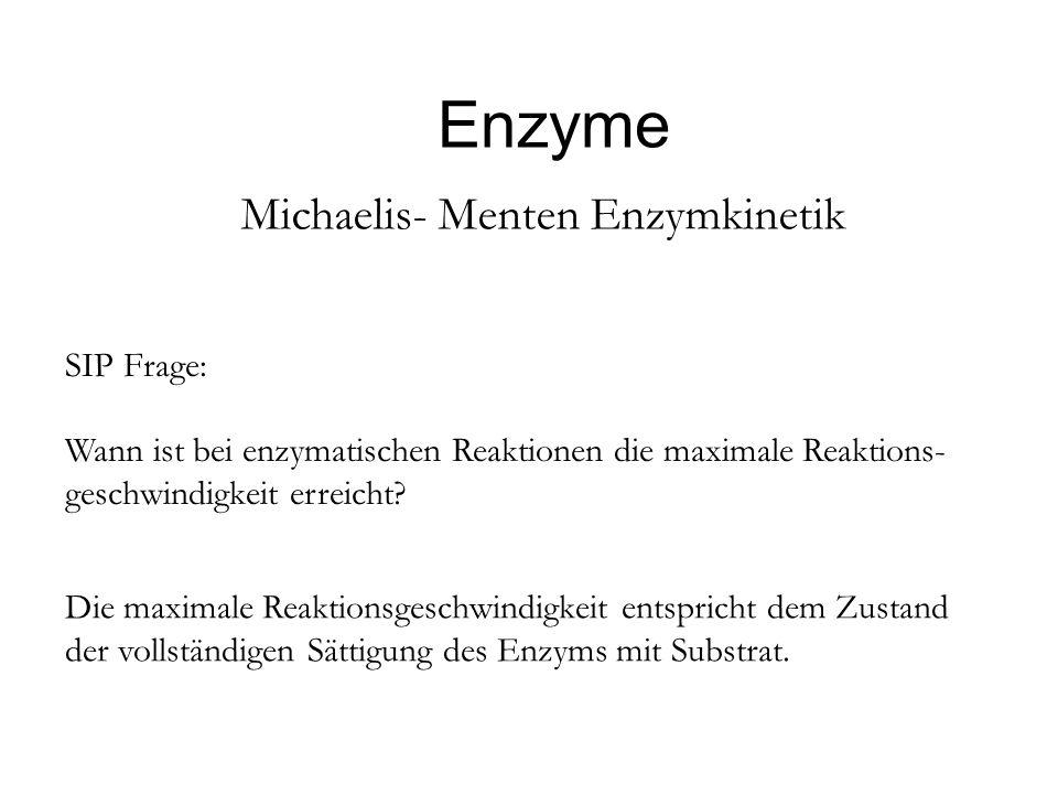 Enzyme Michaelis- Menten Enzymkinetik SIP Frage: Wann ist bei enzymatischen Reaktionen die maximale Reaktions- geschwindigkeit erreicht? Die maximale
