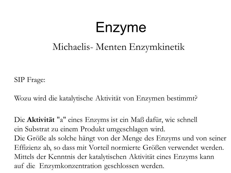Enzyme Michaelis- Menten Enzymkinetik SIP Frage: Wozu wird die katalytische Aktivität von Enzymen bestimmt? Die Aktivität