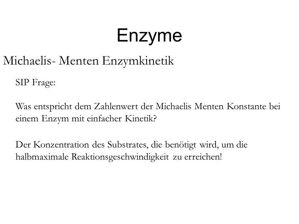 Enzyme Michaelis- Menten Enzymkinetik SIP Frage: Was entspricht dem Zahlenwert der Michaelis Menten Konstante bei einem Enzym mit einfacher Kinetik? D