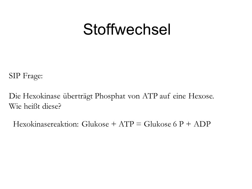 Stoffwechsel SIP Frage: Die Hexokinase überträgt Phosphat von ATP auf eine Hexose. Wie heißt diese? Hexokinasereaktion: Glukose + ATP = Glukose 6 P +
