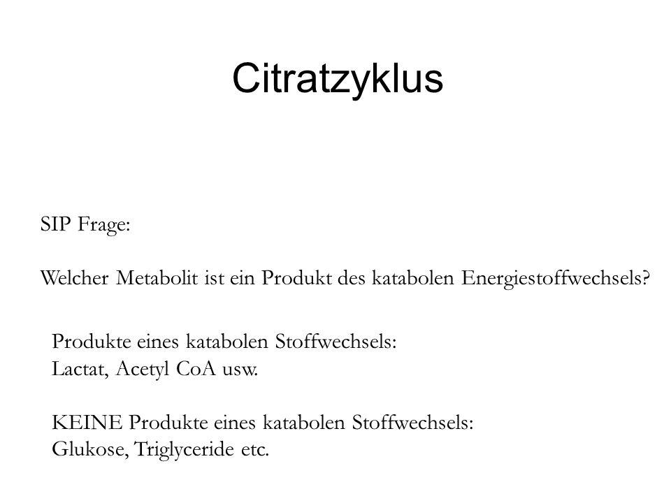 Citratzyklus SIP Frage: Welcher Metabolit ist ein Produkt des katabolen Energiestoffwechsels? Produkte eines katabolen Stoffwechsels: Lactat, Acetyl C