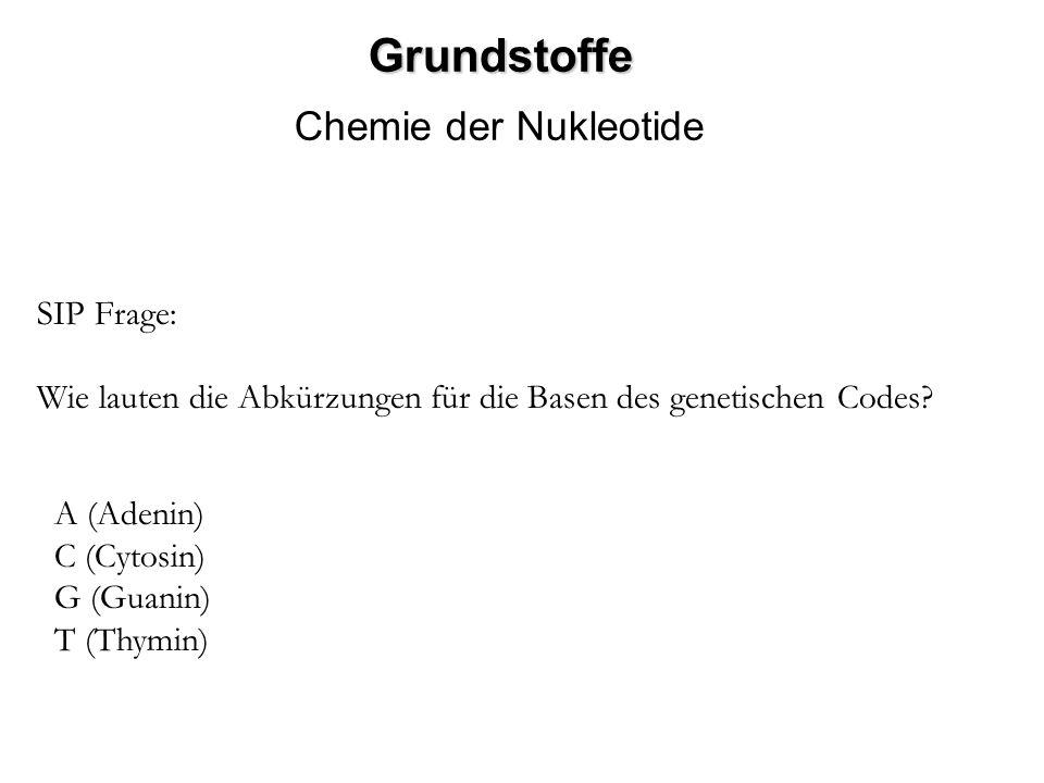 Grundstoffe Chemie der Nukleotide SIP Frage: Wie lauten die Abkürzungen für die Basen des genetischen Codes? A (Adenin) C (Cytosin) G (Guanin) T (Thym