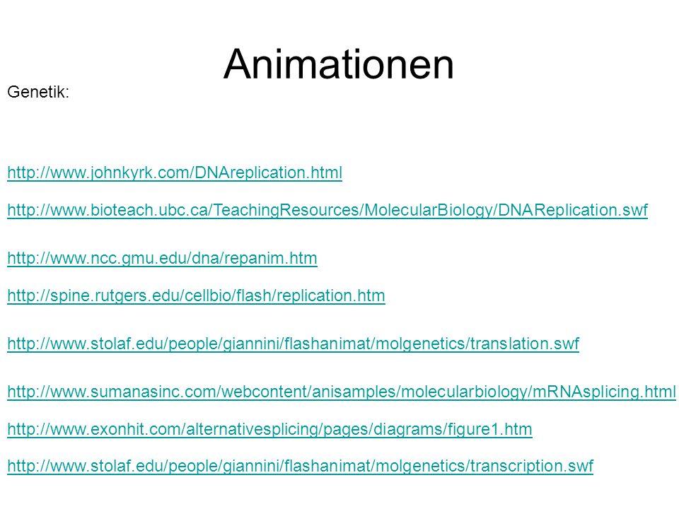 Animationen http://www.johnkyrk.com/DNAreplication.html http://www.bioteach.ubc.ca/TeachingResources/MolecularBiology/DNAReplication.swf http://www.nc