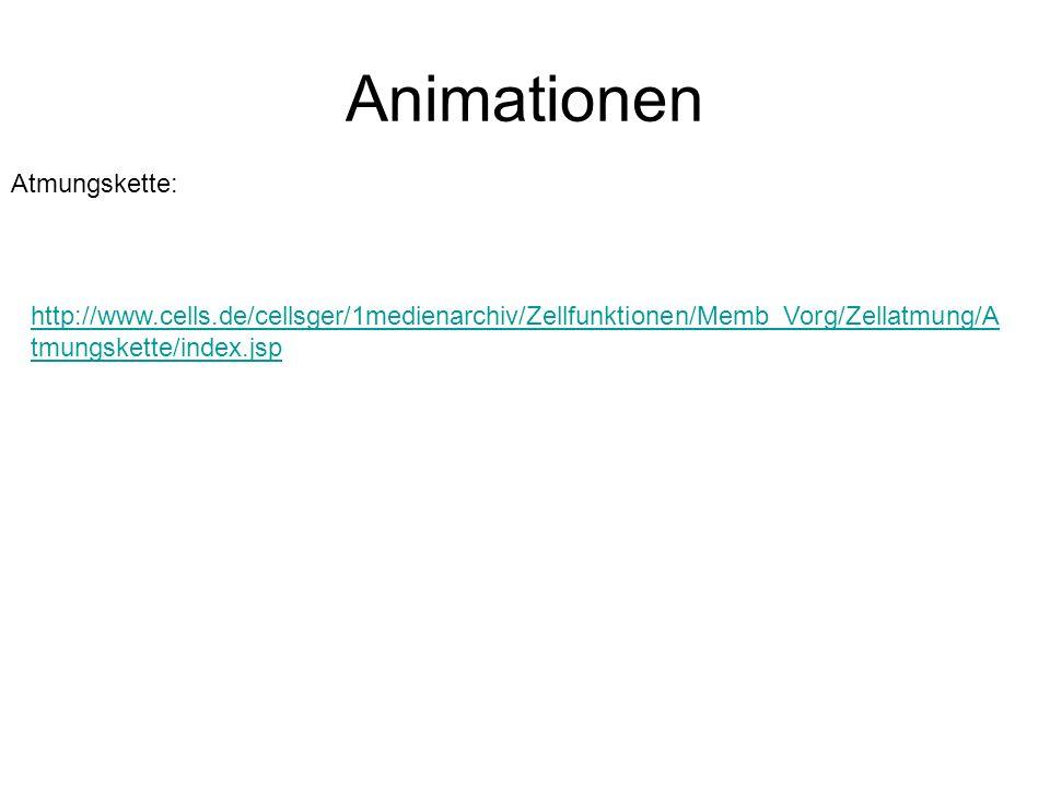Animationen http://www.cells.de/cellsger/1medienarchiv/Zellfunktionen/Memb_Vorg/Zellatmung/A tmungskette/index.jsp Atmungskette: