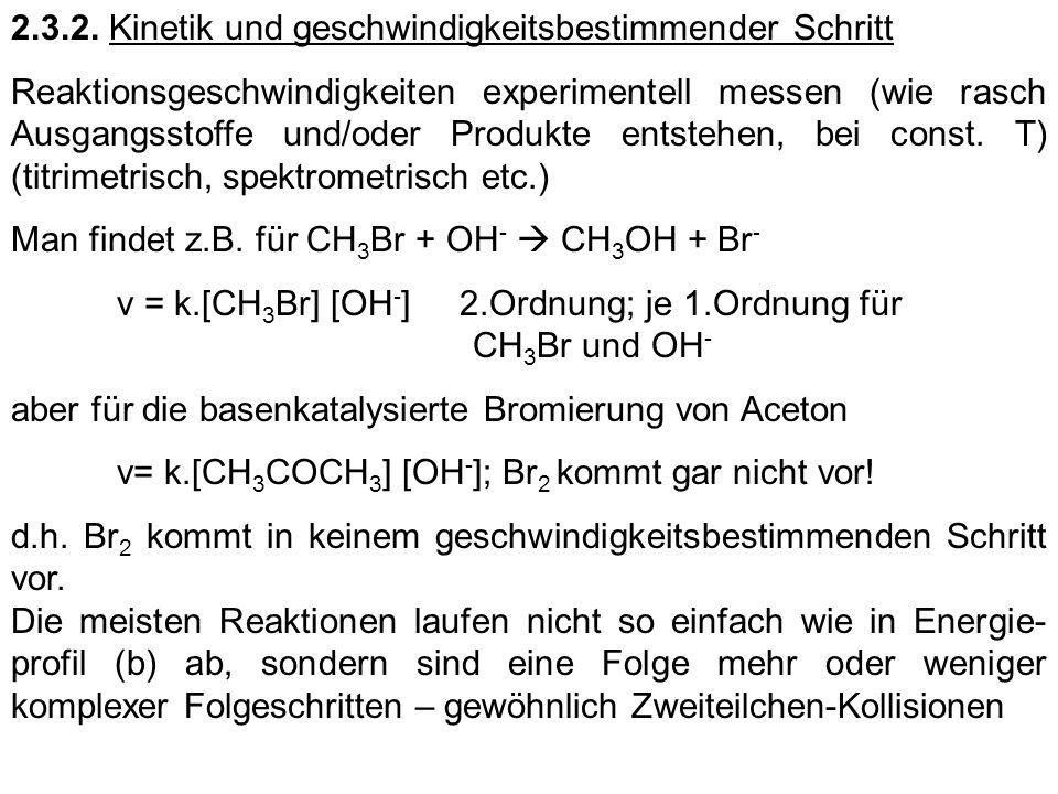 2.3.2. Kinetik und geschwindigkeitsbestimmender Schritt Reaktionsgeschwindigkeiten experimentell messen (wie rasch Ausgangsstoffe und/oder Produkte en