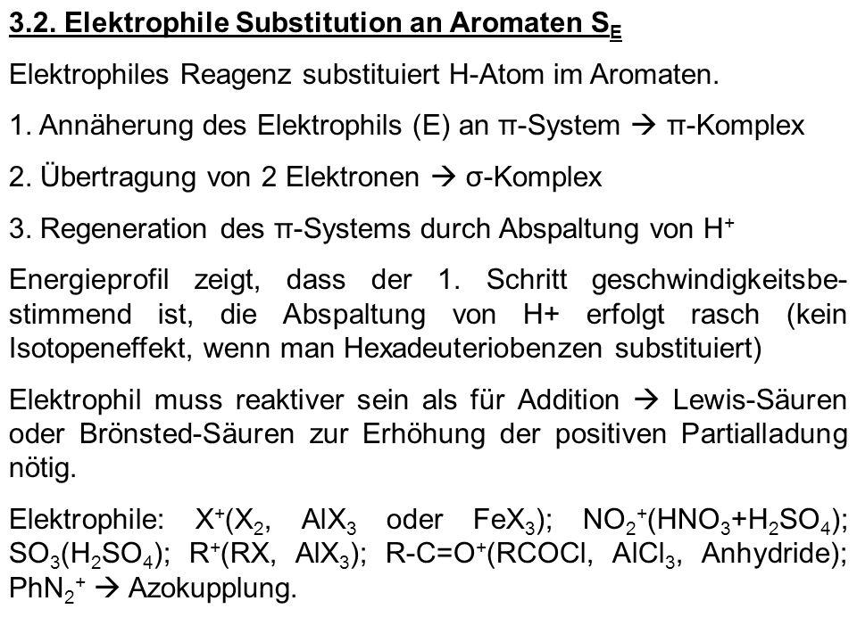 3.2. Elektrophile Substitution an Aromaten S E Elektrophiles Reagenz substituiert H-Atom im Aromaten. 1. Annäherung des Elektrophils (E) an π-System π