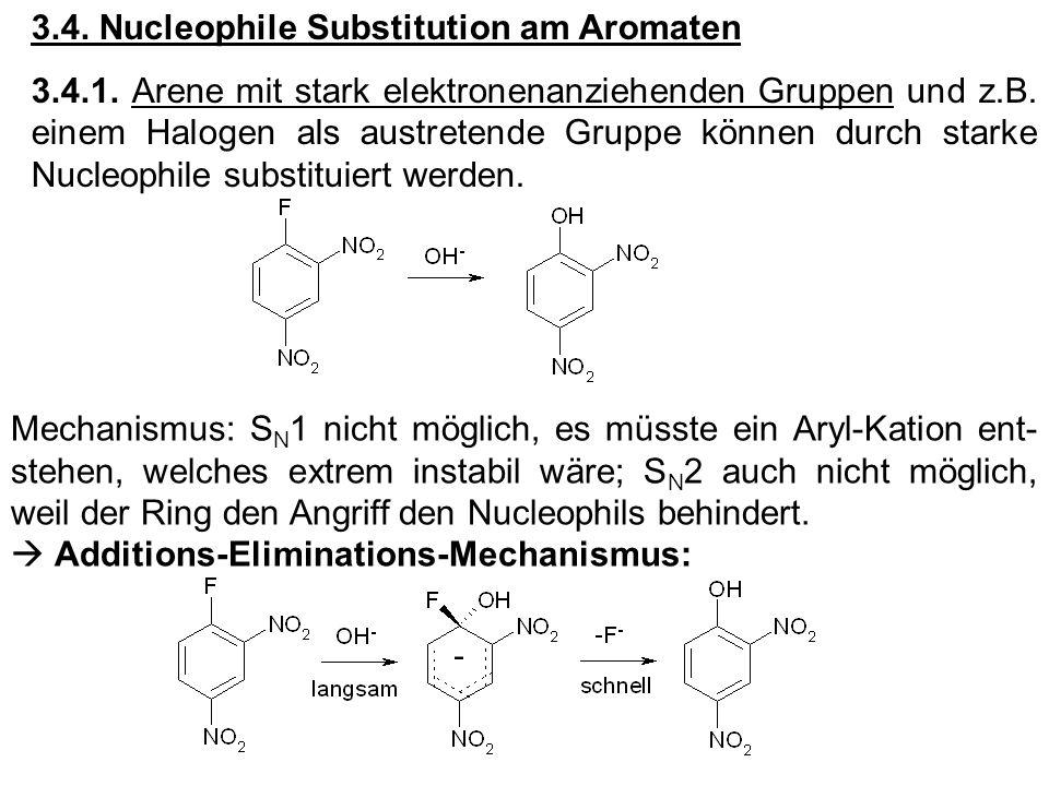 3.4. Nucleophile Substitution am Aromaten 3.4.1. Arene mit stark elektronenanziehenden Gruppen und z.B. einem Halogen als austretende Gruppe können du