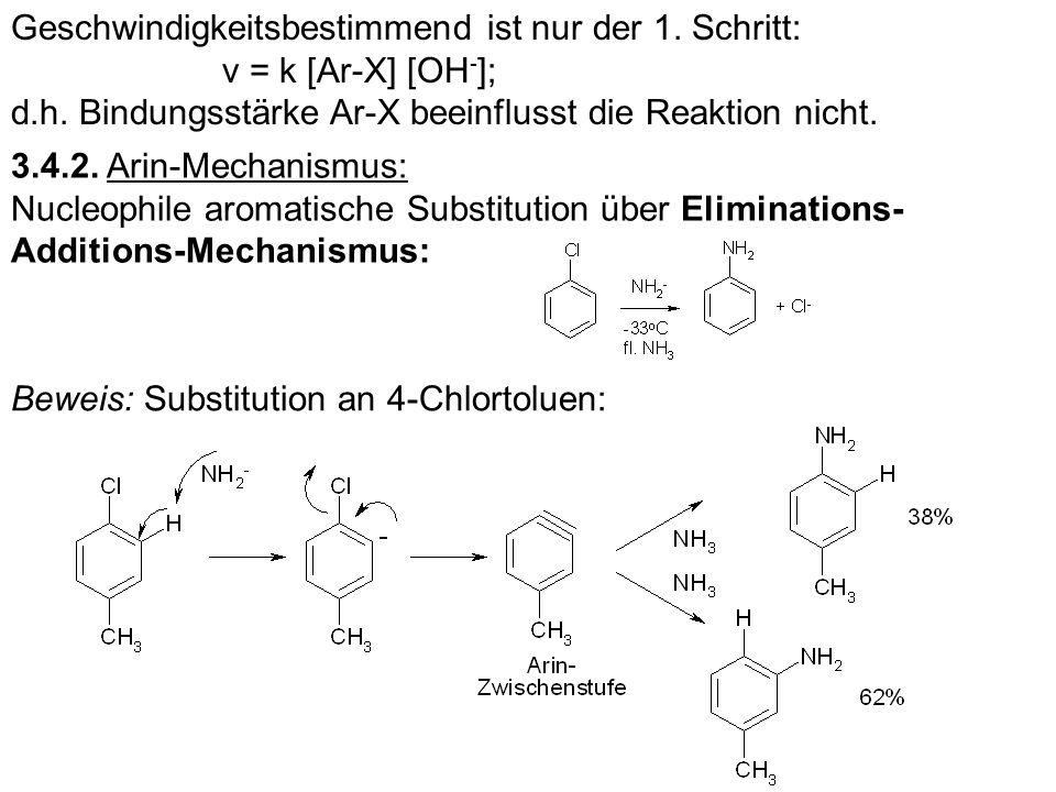 Geschwindigkeitsbestimmend ist nur der 1. Schritt: v = k [Ar-X] [OH - ]; d.h. Bindungsstärke Ar-X beeinflusst die Reaktion nicht. 3.4.2. Arin-Mechanis