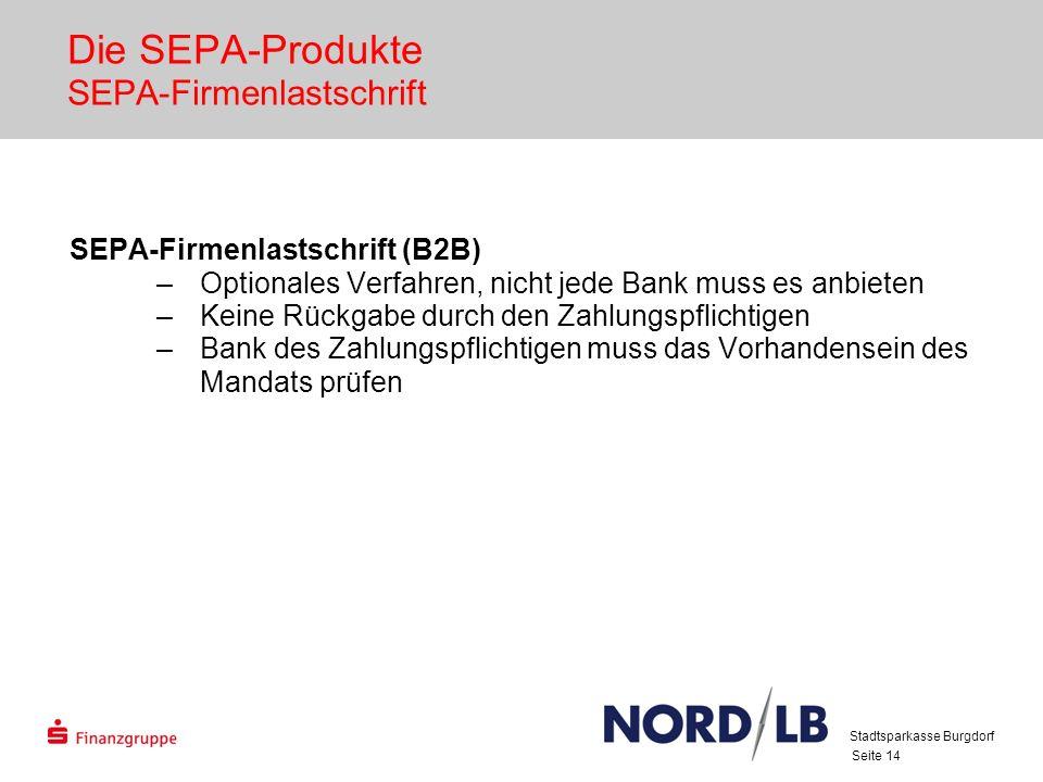 Seite 14 Die SEPA-Produkte SEPA-Firmenlastschrift SEPA-Firmenlastschrift (B2B) –Optionales Verfahren, nicht jede Bank muss es anbieten –Keine Rückgabe