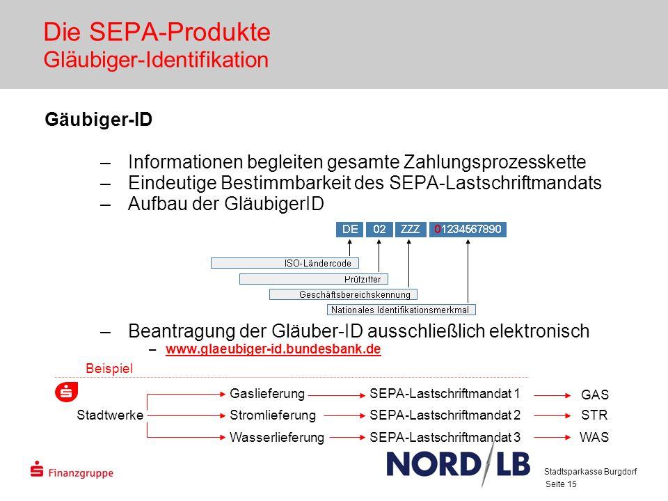 Seite 15 Die SEPA-Produkte Gläubiger-Identifikation Gäubiger-ID –Informationen begleiten gesamte Zahlungsprozesskette –Eindeutige Bestimmbarkeit des S