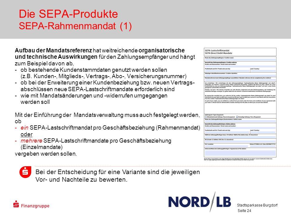 Seite 24 Die SEPA-Produkte SEPA-Rahmenmandat (1) Aufbau der Mandatsreferenz hat weitreichende organisatorische und technische Auswirkungen für den Zahlungsempfänger und hängt zum Beispiel davon ab, -ob bestehende Kundenstammdaten genutzt werden sollen (z.B.
