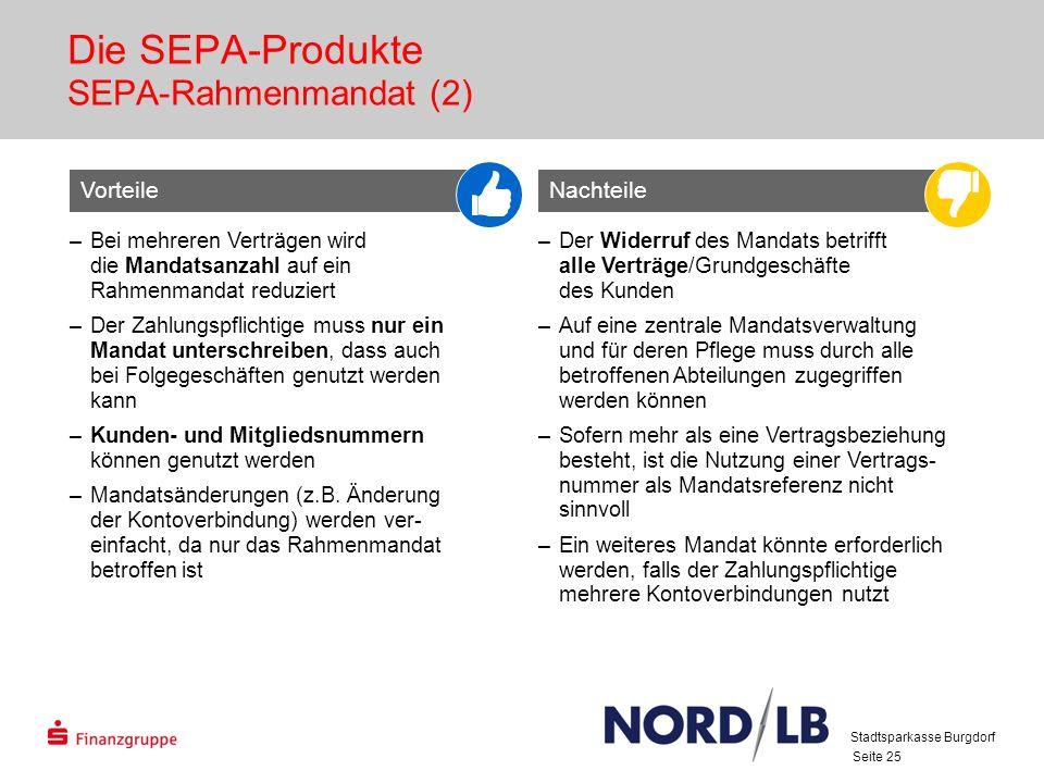 Seite 25 Die SEPA-Produkte SEPA-Rahmenmandat (2) VorteileNachteile –Bei mehreren Verträgen wird die Mandatsanzahl auf ein Rahmenmandat reduziert –Der Zahlungspflichtige muss nur ein Mandat unterschreiben, dass auch bei Folgegeschäften genutzt werden kann –Kunden- und Mitgliedsnummern können genutzt werden –Mandatsänderungen (z.B.