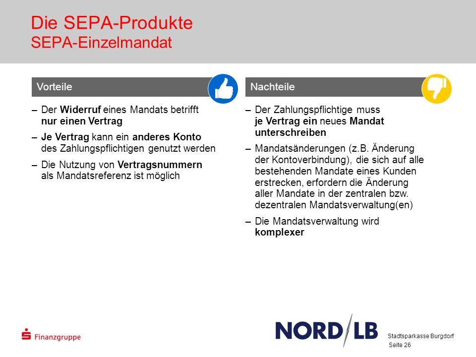 Seite 26 Die SEPA-Produkte SEPA-Einzelmandat –Der Widerruf eines Mandats betrifft nur einen Vertrag –Je Vertrag kann ein anderes Konto des Zahlungspflichtigen genutzt werden –Die Nutzung von Vertragsnummern als Mandatsreferenz ist möglich –Der Zahlungspflichtige muss je Vertrag ein neues Mandat unterschreiben –Mandatsänderungen (z.B.