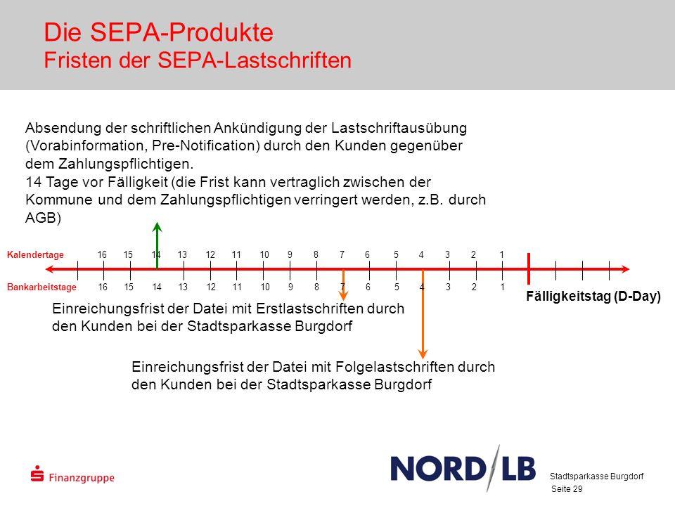 Seite 29 Die SEPA-Produkte Fristen der SEPA-Lastschriften Fälligkeitstag (D-Day) Absendung der schriftlichen Ankündigung der Lastschriftausübung (Vorabinformation, Pre-Notification) durch den Kunden gegenüber dem Zahlungspflichtigen.