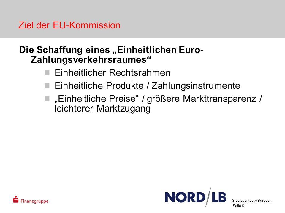 Seite 5 Ziel der EU-Kommission Die Schaffung eines Einheitlichen Euro- Zahlungsverkehrsraumes Einheitlicher Rechtsrahmen Einheitliche Produkte / Zahlu