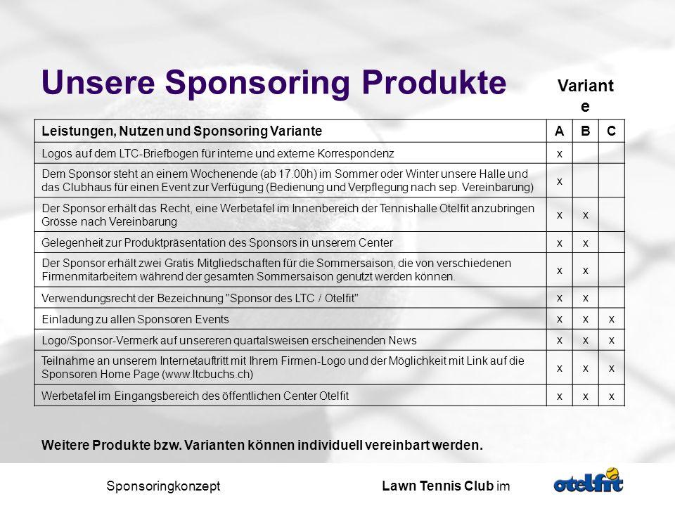 Sponsoringkonzept Lawn Tennis Club im Ihr Beitrag / mögliche Varianten monatlich jährlich A B C Sponsoringbeiträge (inkl.
