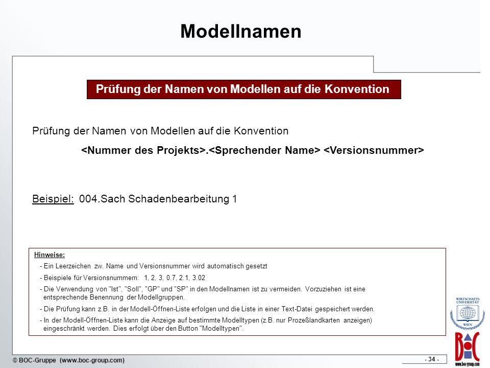 - 34 - © BOC-Gruppe (www.boc-group.com) Modellnamen Beispiel: 004.Sach Schadenbearbeitung 1 Prüfung der Namen von Modellen auf die Konvention.