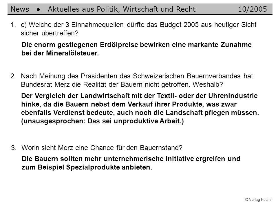 © Verlag Fuchs Der Vergleich der Landwirtschaft mit der Textil- oder der Uhrenindustrie hinke, da die Bauern nebst dem Verkauf ihrer Produkte, was zwa