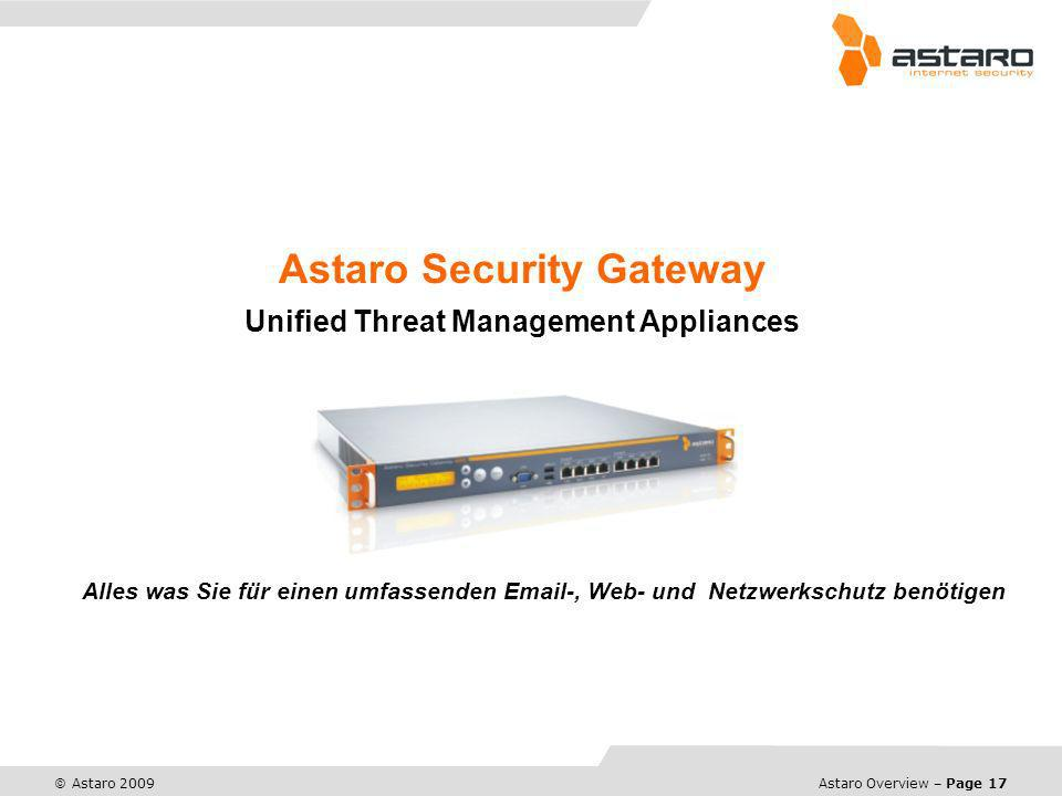 Astaro Overview – Page 17 © Astaro 2009 Astaro Security Gateway Unified Threat Management Appliances Alles was Sie für einen umfassenden Email-, Web-
