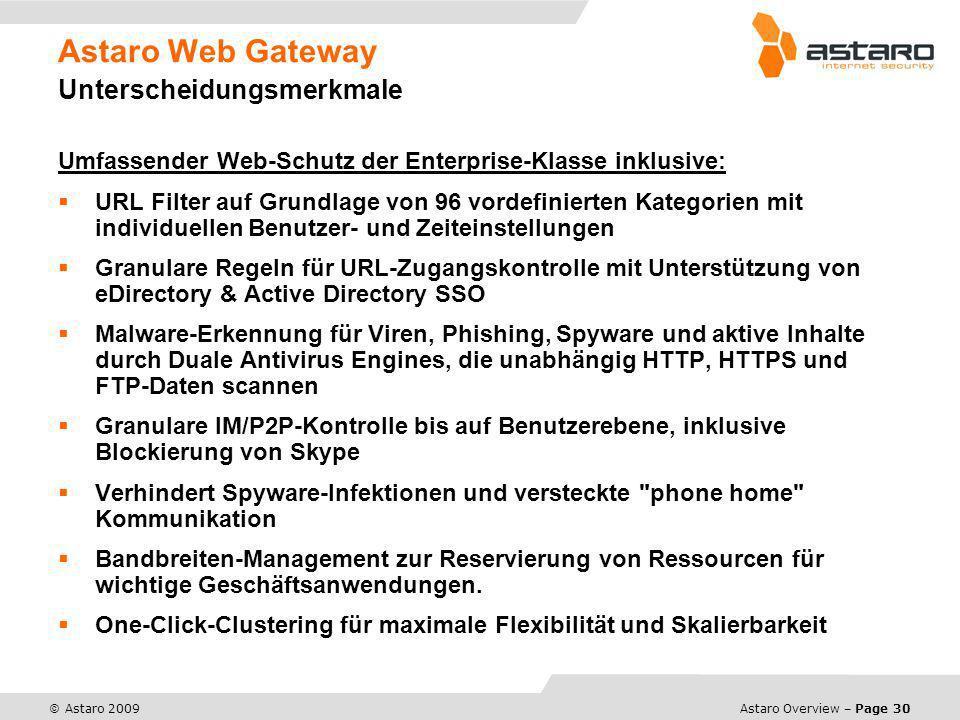 Astaro Overview – Page 30 © Astaro 2009 Astaro Web Gateway Unterscheidungsmerkmale Umfassender Web-Schutz der Enterprise-Klasse inklusive: URL Filter